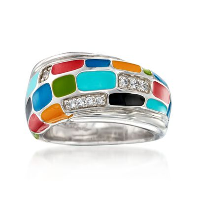"Belle Etoile ""Mosaica"" Multicolored Enamel and .15 ct. t.w. CZ Ring in Sterling Silver, , default"
