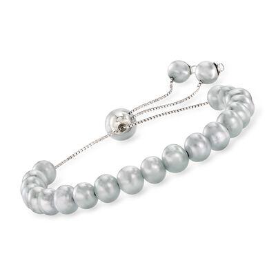6-9mm Gray Cultured Pearl Bolo Bracelet in Sterling Silver, , default