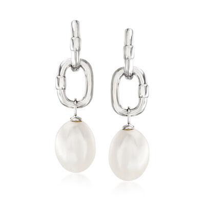 9-9.5mm Cultured Pearl C-Hoop Drop Earrings in Sterling Silver, , default