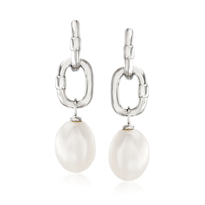 9-9.5mm Cultured Pearl C-Hoop Drop Earrings in Sterling Silver