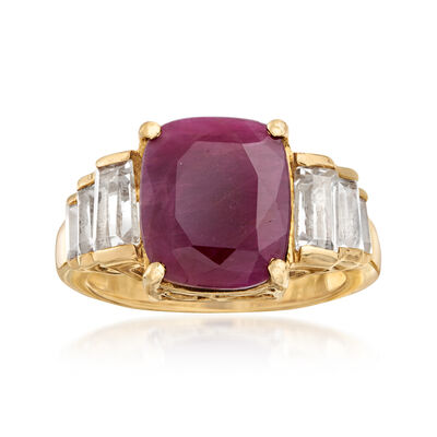 5.50 ct. t.w. Indian Ruby and 1.30 ct. t.w. White Topaz Ring in 18kt Gold Over Sterling, , default