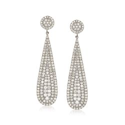 2.28 ct. t.w. Diamond Teardrop Earrings in Sterling Silver , , default