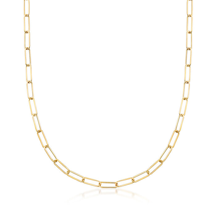 "Italian 14kt Yellow Gold Paper Clip Link Necklace. 48"", , default"