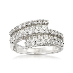 C. 1980 Vintage 2.60 ct. t.w. Round and Princess-Cut Diamond Bypass Ring in 18kt White Gold, , default