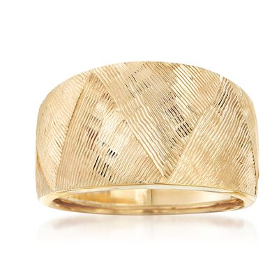 Italian 18kt Yellow Gold Textured Ring, , default