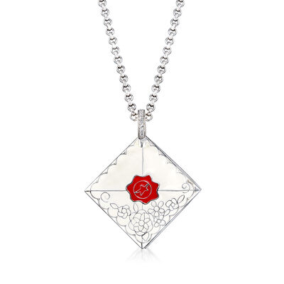 "Belle Etoile ""Love Letter"" White Enamel Pendant with CZ Accents in Sterling Silver, , default"