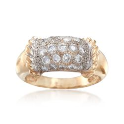 C. 1990 Vintage 1.30 ct. t.w. Pave Diamond Ring in 14kt Yellow Gold. Size 9, , default