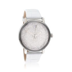 Swarovski Crystal Crystalline Hours Women's Stainless Steel Watch With Crystals and White Leather, , default