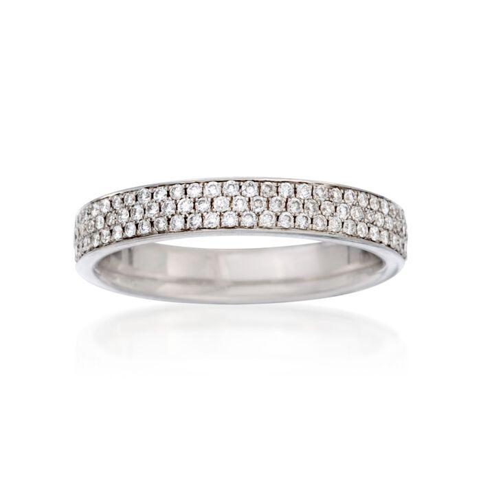 Henri Daussi .40 ct. t.w. Pave Diamond Three-Row Wedding Ring in 18kt White Gold, , default