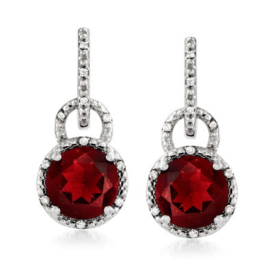 4.76 ct. t.w. Garnet and .11 ct. t.w. Diamond Drop Earrings in Sterling Silver