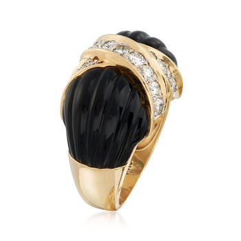 C. 1980 Vintage Onyx and .70 ct. t.w. Diamond X Ring in 14kt Yellow Gold. Size 6.5