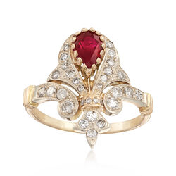 C. 1980 Vintage 1.00 Carat Ruby and .75 ct. t.w. Diamond Crown Ring in 14kt Yellow Gold, , default