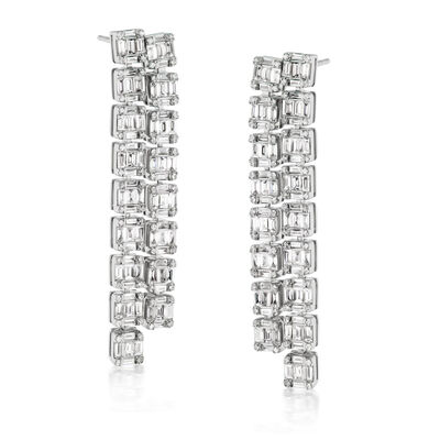 3.68 ct. t.w. Round and Baguette Diamond Drop Earrings in 18kt White Gold