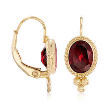 1.60 ct. t.w. Garnet Rope Edge Earrings in 14kt Yellow Gold, , default
