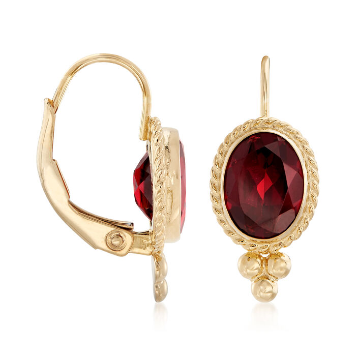 1.60 ct. t.w. Garnet Twist-Edge Earrings in 14kt Yellow Gold