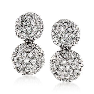 C. 1980 Vintage .50 ct. t.w. Diamond Double-Drop Earrings in 18kt White Gold