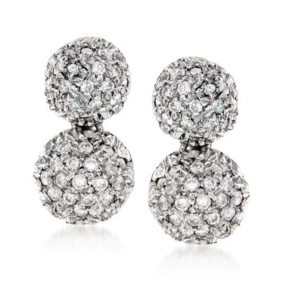 C. 1980 Vintage .50 ct. t.w. Diamond Double-Drop Earrings in 18kt White Gold, , default