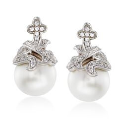 "Belle Etoile ""Fiona"" 12mm Simulated Pearl and .45 ct. t.w. CZ Earrings in Sterling Silver , , default"