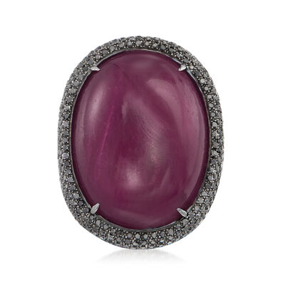 80.00 Carat Ruby and 3.65 ct. t.w. Black Diamond Ring in 18kt White Gold