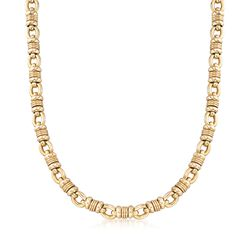 "C. 2000 Vintage 14kt Yellow Gold Knot Loop Link Necklace. 20.5"", , default"