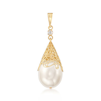 11-12mm Cultured Pearl Pendant with Diamond Accent in 14kt Yellow Gold, , default