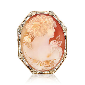 C. 1950 Vintage Pink Shell Cameo Pin/Pendant in 14kt White Gold, , default