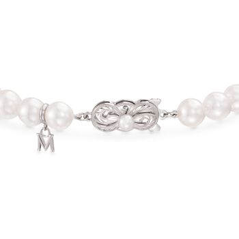 "Mikimoto 7-7.5mm 'A' Akoya Pearl and Diamond Bracelet in 18kt White Gold. 7"", , default"
