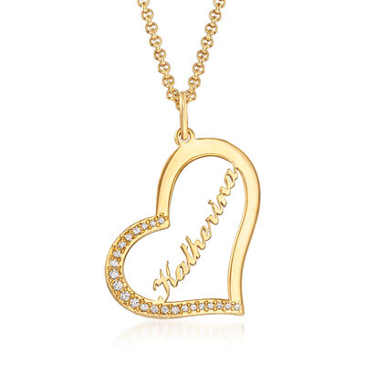 .20 ct. t.w. CZ Personalized Heart Pendant Necklace in 18kt Yellow Gold Over Sterling, , default