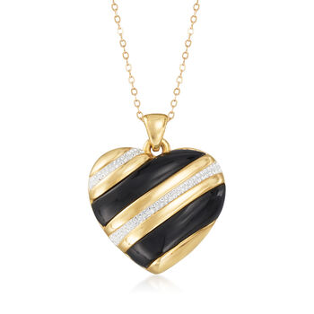 Black Onyx and Rhinestone Heart Pendant Necklace in 14kt Yellow Gold Over Resin, , default