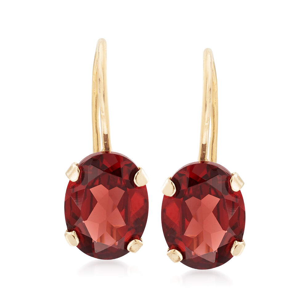 T W Garnet Drop Earrings In 14kt Yellow Gold Default