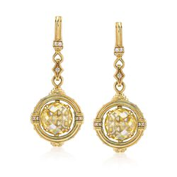 """Judith Ripka """"Marisol"""" Canary Yellow Crystal and .21 ct. t.w. Diamond Drop Earrings With Yellow Sapphire Accents in 18kt Gold, , default"""