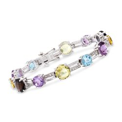 22.85 ct. t.w. Multi-Stone and .25 ct. t.w. Diamond Bracelet in Sterling Silver, , default
