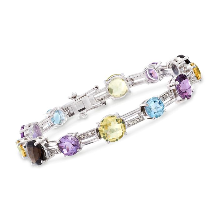 """22.85 ct. t.w. Multi-Stone and .25 ct. t.w. Diamond Bracelet in Sterling Silver. 7"""", , default"""