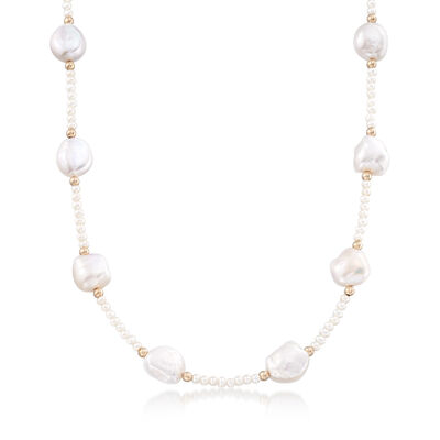 Cultured Pearl Station Necklace with 14kt Yellow Gold, , default