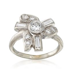 C. 1950 Vintage .78 ct. t.w. Diamond Multi-Shape Ring in Platinum. Size 3.5, , default