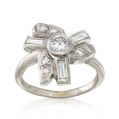 C. 1950 Vintage .78 ct. t.w. Diamond Multi-Shape Ring in Platinum, , default