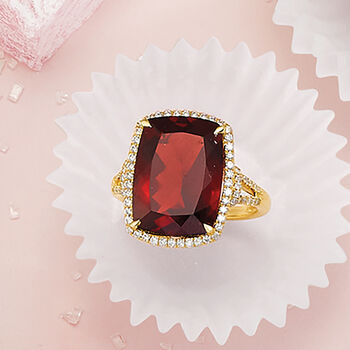 13.00 Carat Garnet and .41 ct. t.w. Diamond Ring in 14kt Yellow Gold, , default
