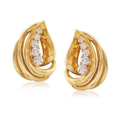 C. 1980 Vintage 1.00 ct. t.w. Diamond Earrings in 18kt Yellow Gold, , default