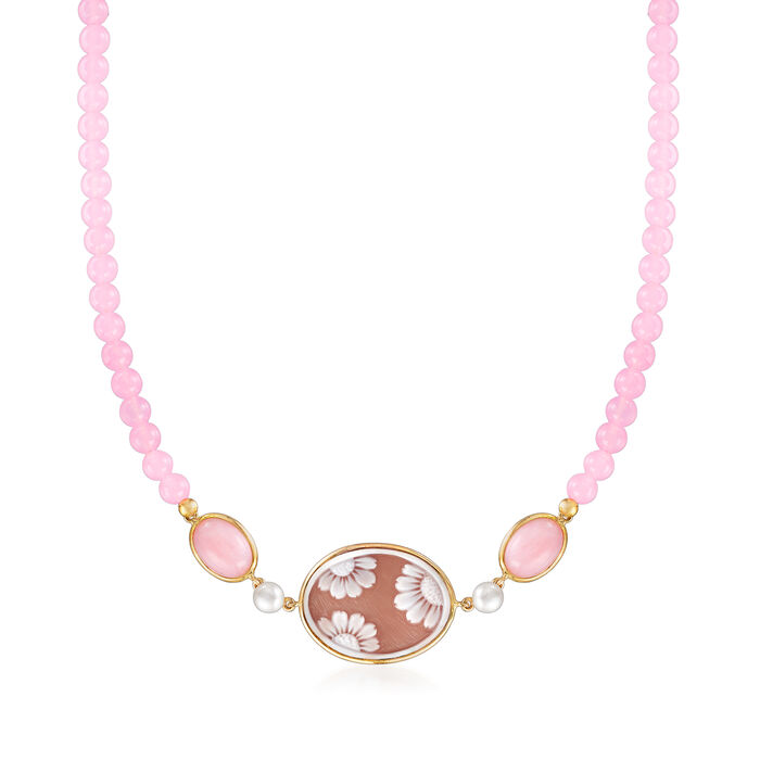 Italian 6-6.5mm Cultured Pearl and Muti-Gemstone Floral Cameo Necklace in 14kt Yellow Gold