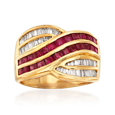C. 1980 Vintage 2.00 ct. t.w. Ruby and .50 ct. t.w. Diamond Crossover Ring in 18kt Yellow Gold, , default