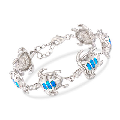 Blue Synthetic Opal Turtle Bracelet in Sterling Silver, , default