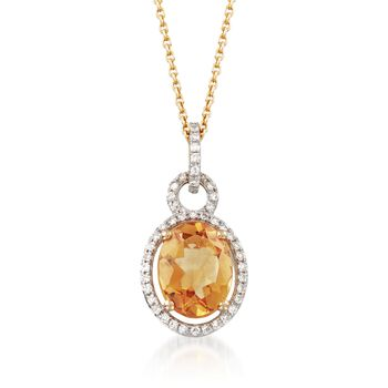 """1.70 Carat Citrine and .14 ct. t.w. Diamond Pendant Necklace in 14kt Yellow Gold. 18"""", , default"""