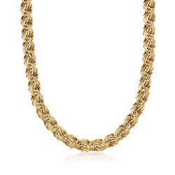 "14kt Yellow Gold Flat Rosette-Link Necklace. 18"", , default"