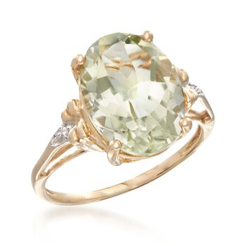 4.50 Carat Green Prasiolite Ring with Diamond Accents in 14kt Yellow Gold