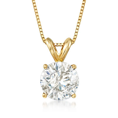 1.50 Carat Diamond Solitaire Pendant Necklace in 14kt Yellow Gold, , default