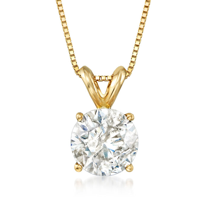 1.50 Carat Diamond Solitaire Pendant Necklace in 14kt Yellow Gold