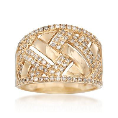 .65 ct. t.w. Diamond Basketweave Ring in 14kt Gold, , default