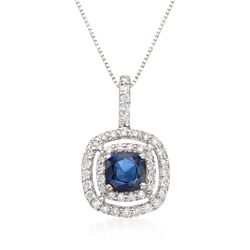 ".80 Carat Sapphire and .45 ct. t.w. Diamond Double Halo Pendant Necklace in 14kt White Gold. 16"", , default"