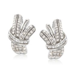 1.00 ct. t.w. Round and Baguette Diamond Earrings in Sterling Silver , , default