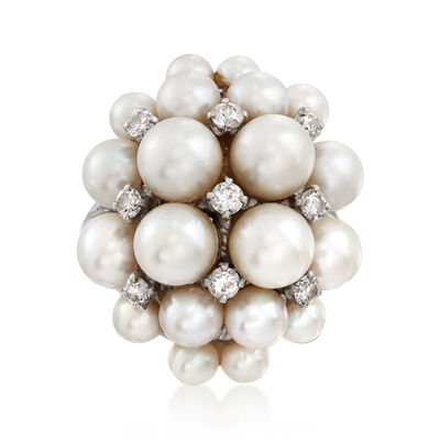 C. 1960 Vintage 4x6.5mm Cultured Pearl and .55 ct t.w. Diamond Cluster Ring in 14kt White Gold, , default